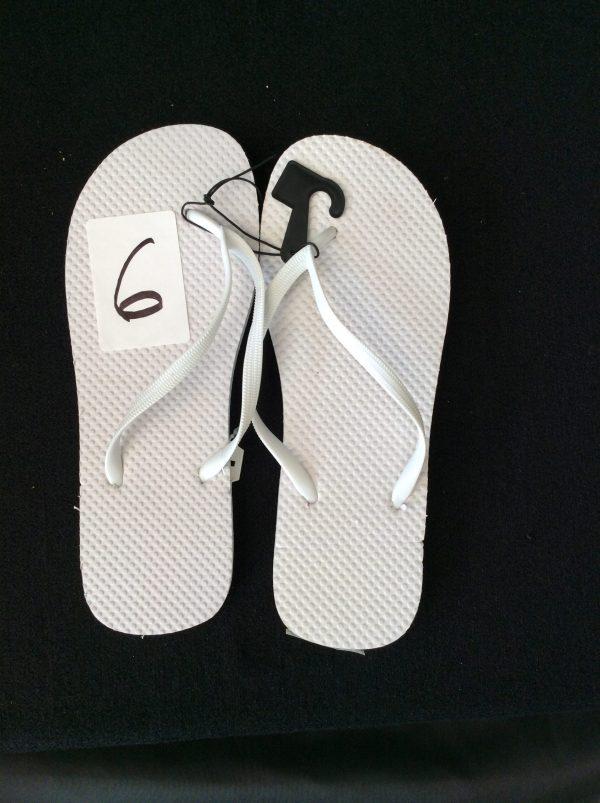Women's white flip flops (new), Size 11-12
