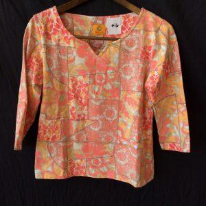 Women's yellow and orange print top, size petite medium
