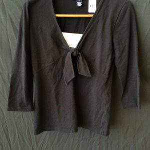 Women's black tie front top, size small