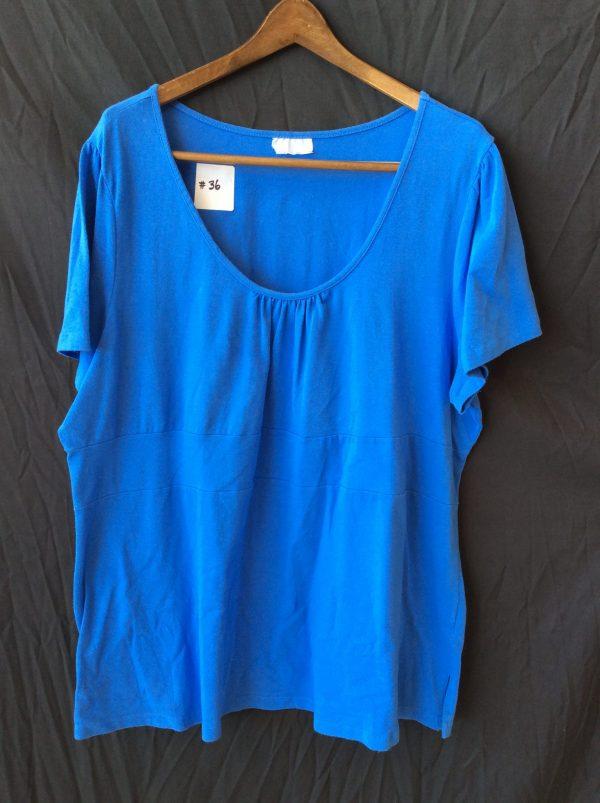 Women's scoop neck blue top, size xl