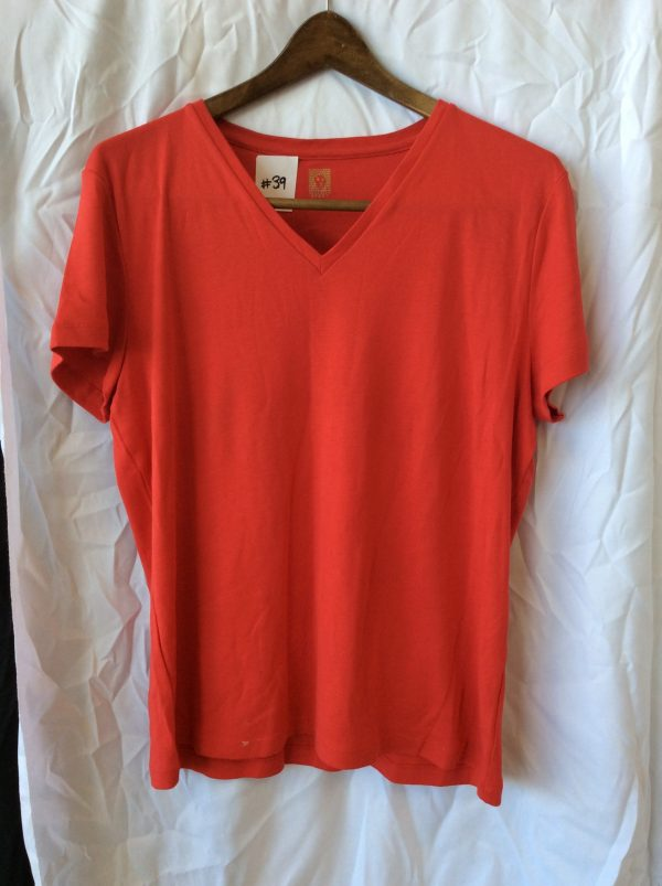 Women's red v-neck top, size xl