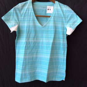 Women's turquoise and white v-neck top, size small