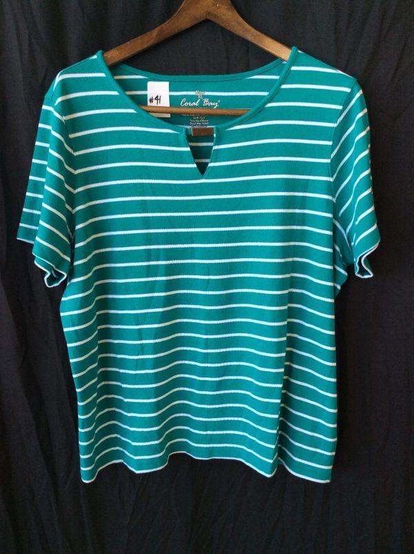 Women's green and white stripe v-neck, size xl