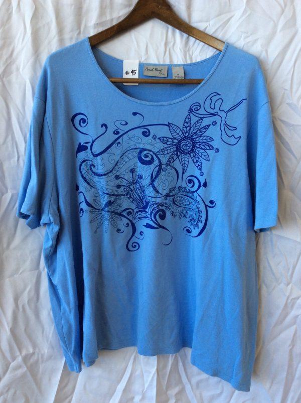 Women's scoop neck blue top, size xxl