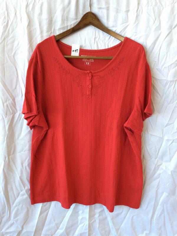 Women's red scoop neck top, size xxl