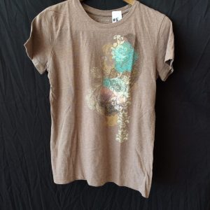 Women's brown and turquoise t-shirt, size small