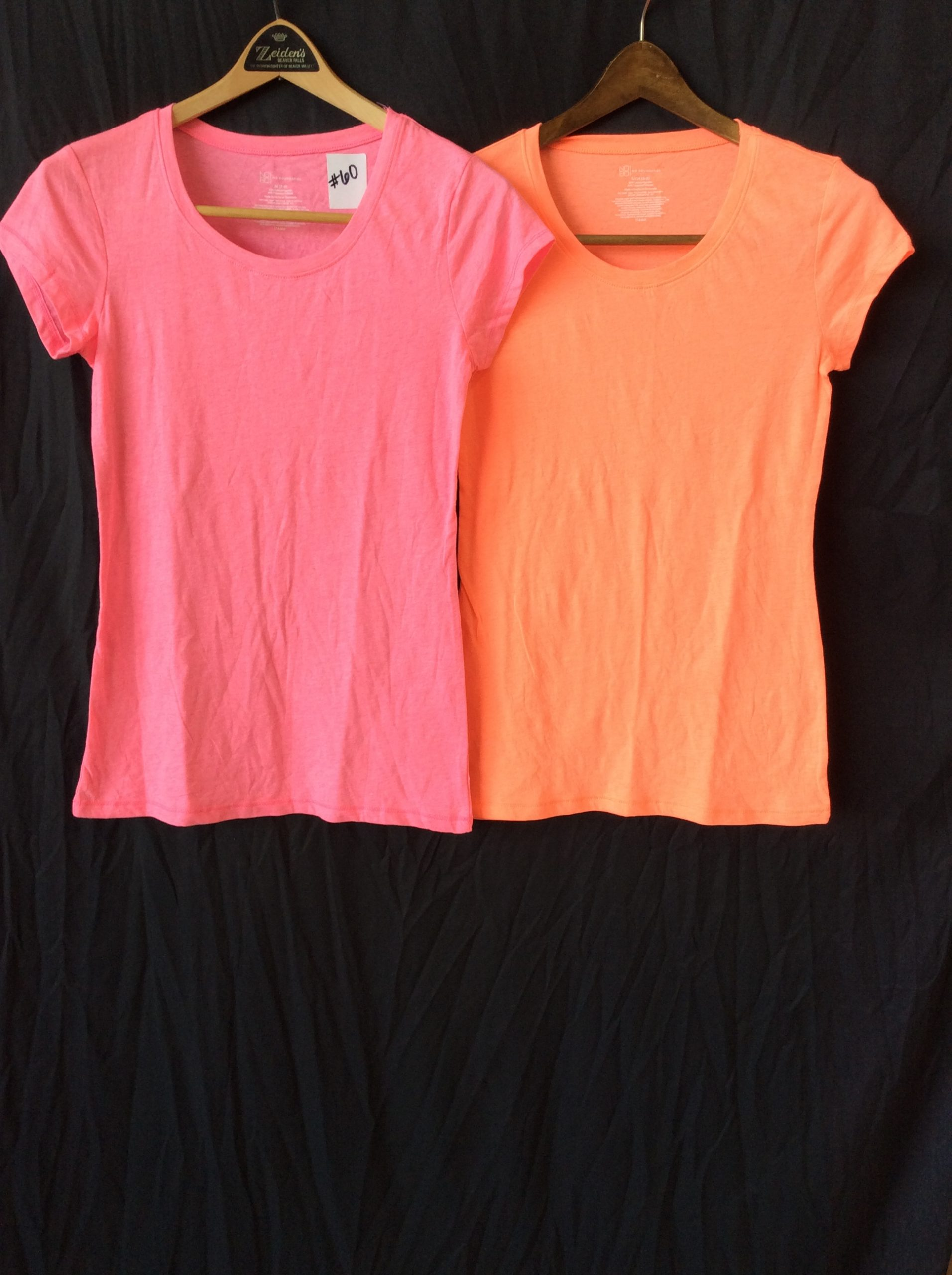 Women's scoop neck (set of 2, one pink, one orange), size small