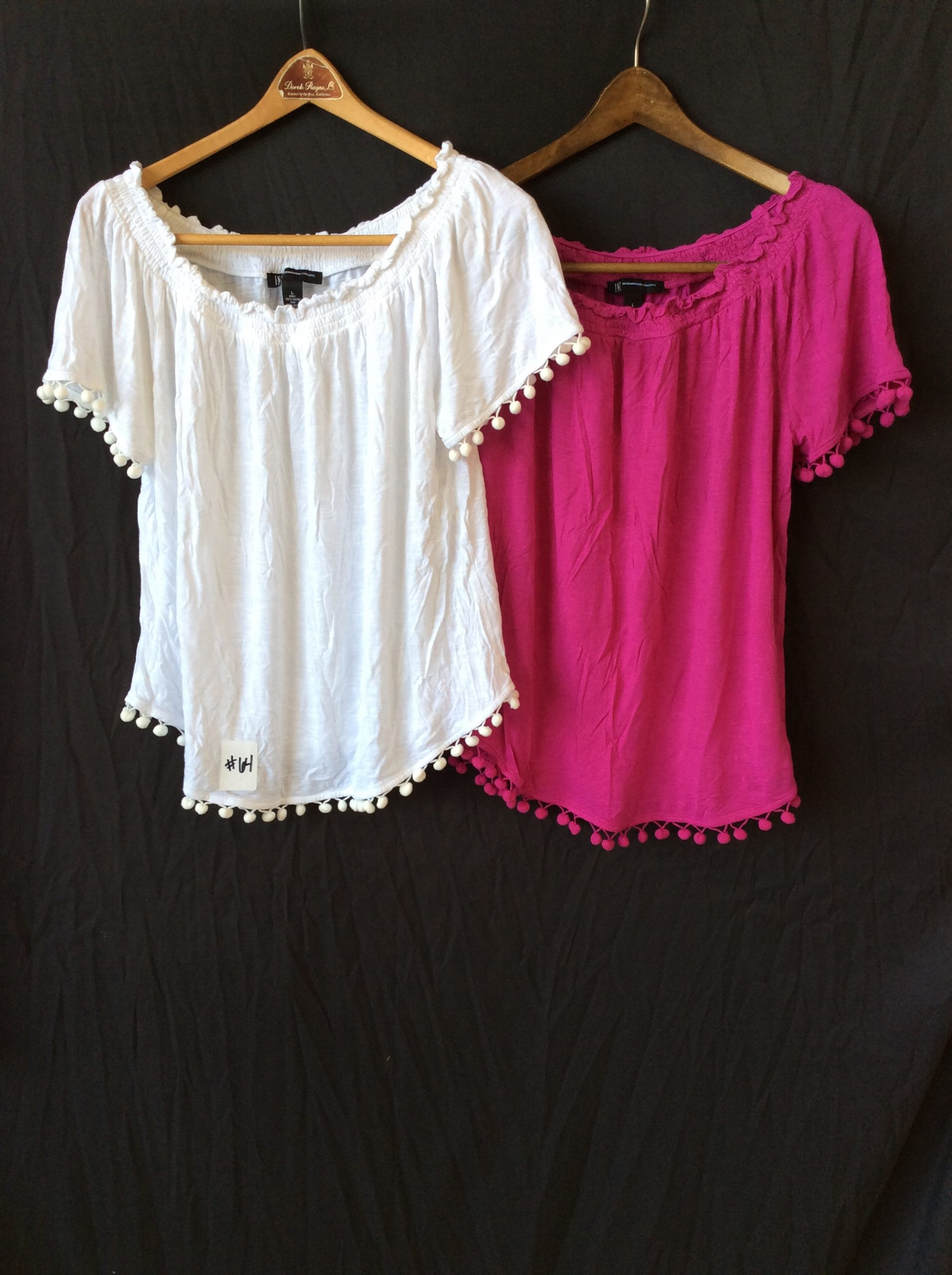 Women's (2 pack) pink and white peasant tops, size large