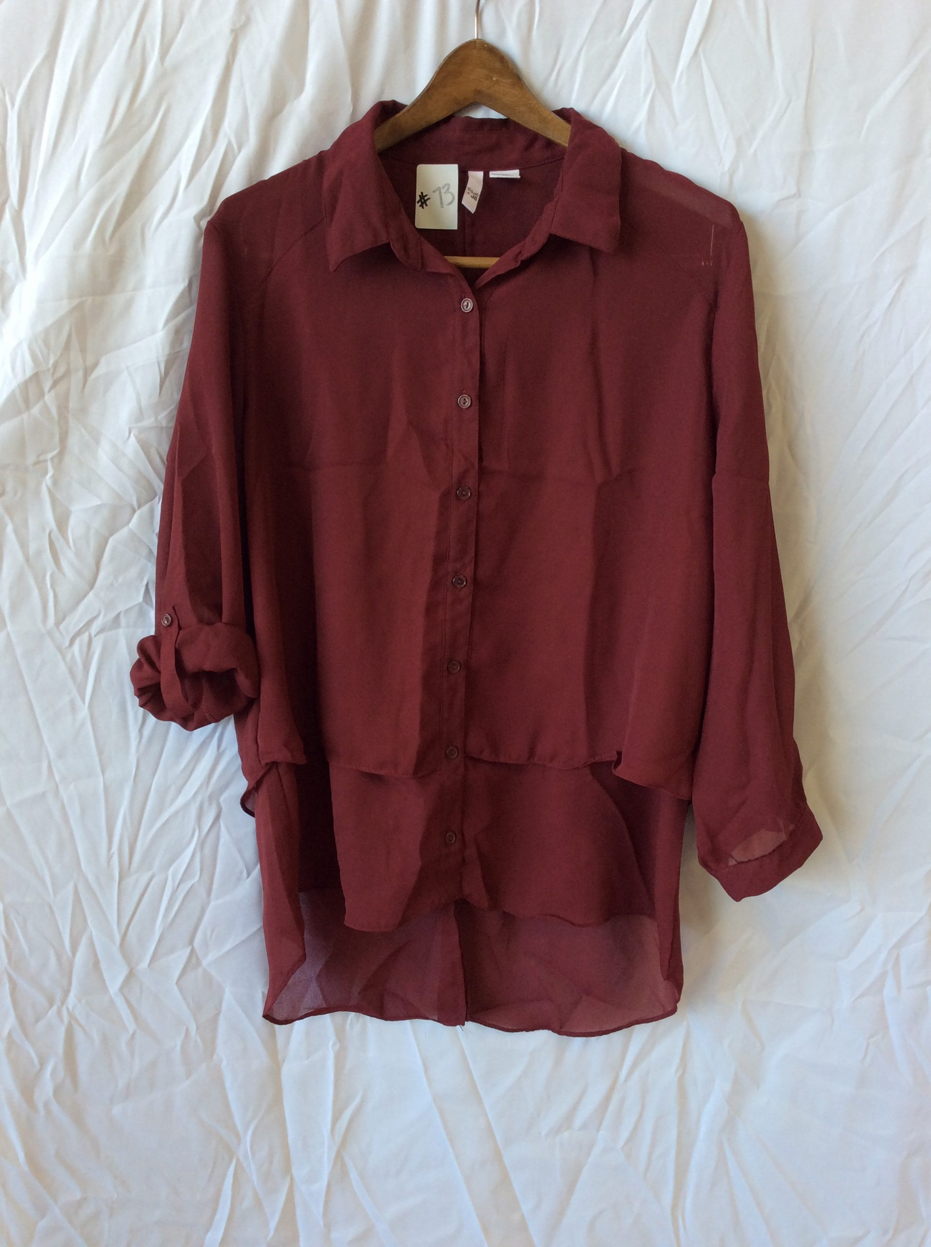 Women's button up maroon top, size xl