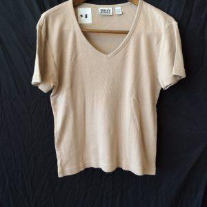 Women's v-neck tan top, size medium