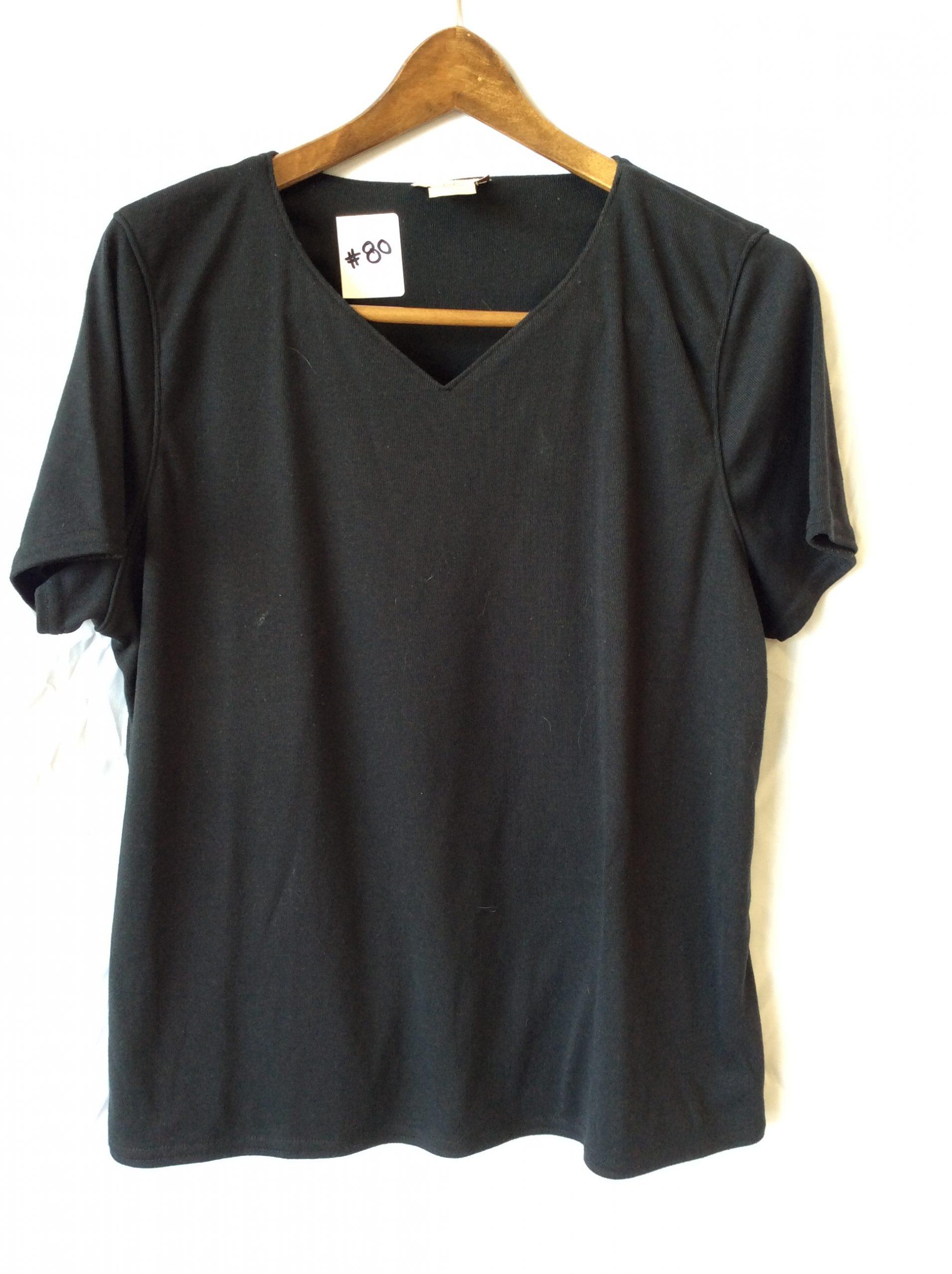 Women's black v-neck tee, size xl