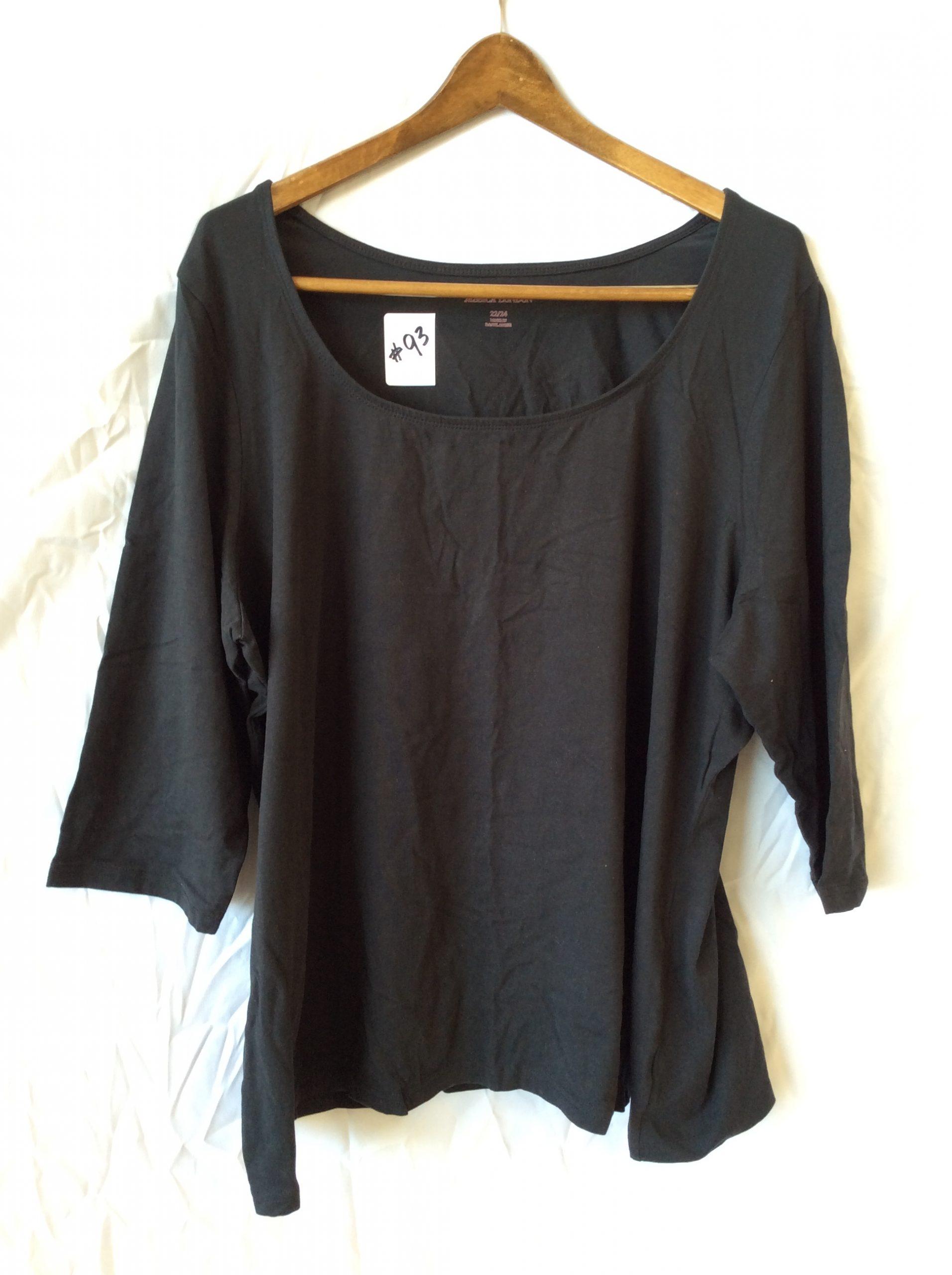 Women's black scoop neck top, size 22-24