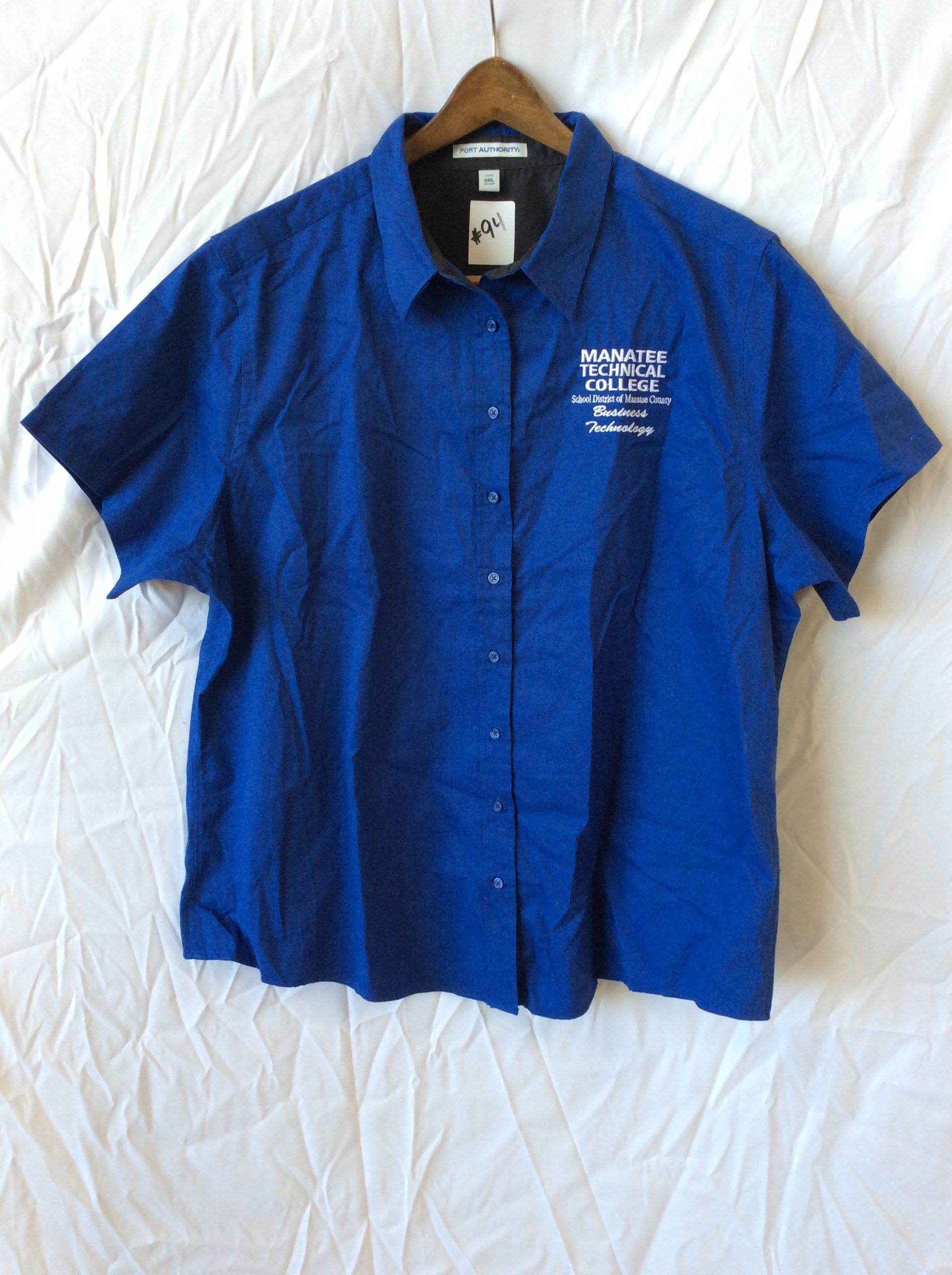 Women's button up tech college top, size large (25 total)