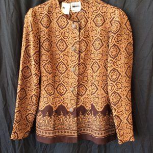 Women's brown print button jacket, size 10