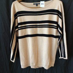 Women's lightweight sweater tan and black stripe, size medium