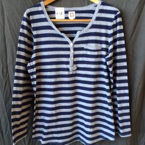 Women's grey and navy striped top, size large