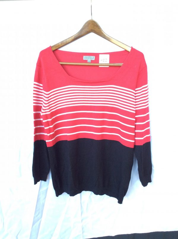 Women's pink, white, and black stripe top, size large