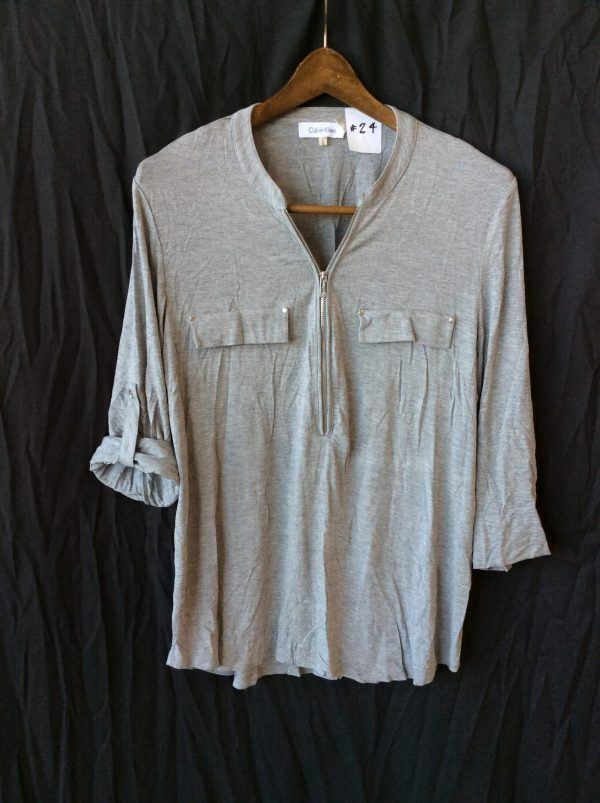 Women's grey top with partial zip front, size large