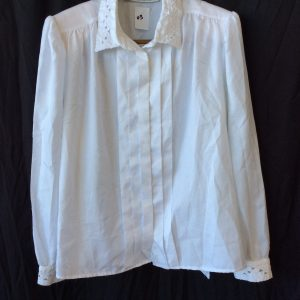 Women's button up white top with shoulder pads, size 16