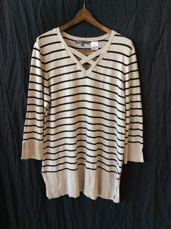 Women's tan and black striped top, size xl