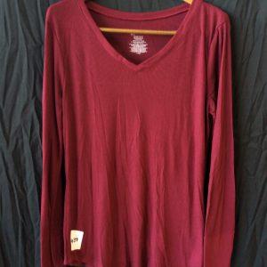 Women's maroon long-sleeved top, size xl