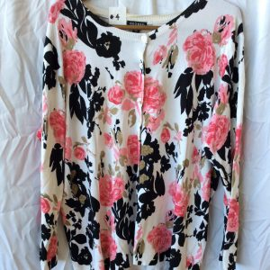 Women's cardigan white pink and black print, size 16-18