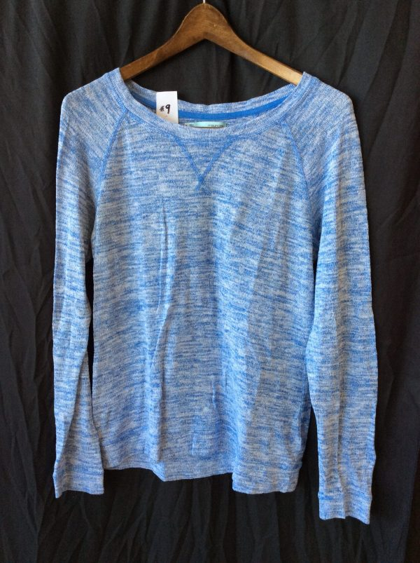 Women's long-sleeved blue and white top, size medium